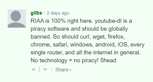 "A rather funny comment on the RIAA-ordered ""takedown"" of youtube-dl"